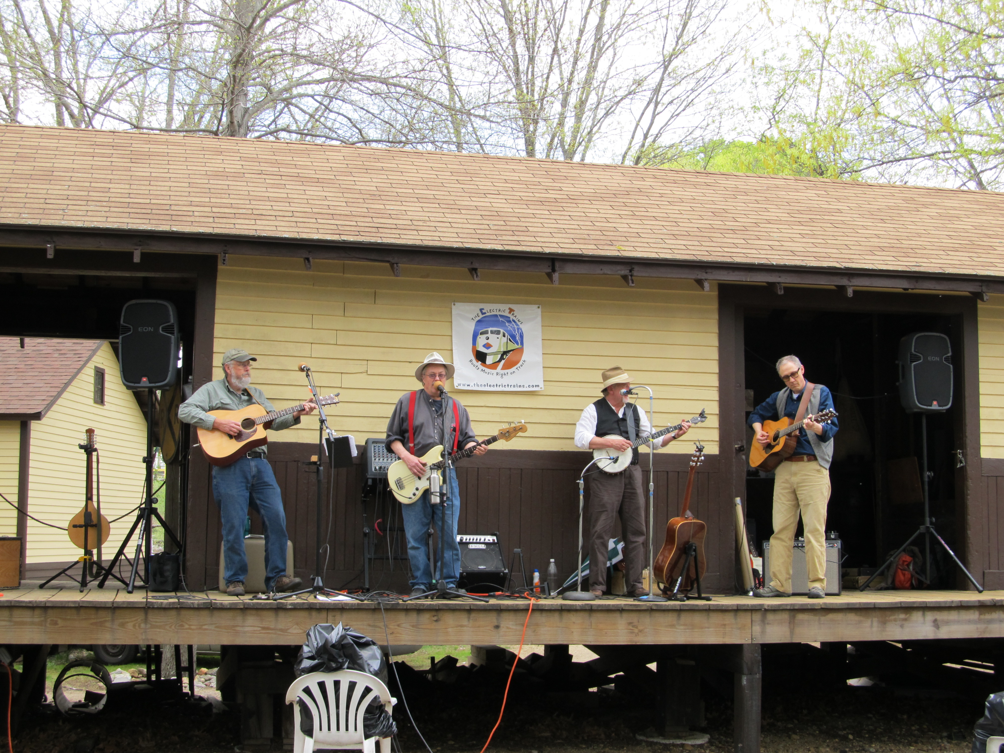 The Electric Trains perform on the Groton Freight House platform.